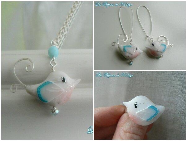 bijoux oiseau fimo bleu