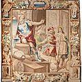 Tapisserie rehaussée de fils d'or et d'argent. manufacture de bruges. allégorie du commerce. époque milieu xviie siècle