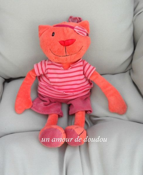 Doudou Chat Pirate Orange Vêtements Rouge Rose CREDIT AGRICOLE