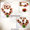 Collier, bracelet, bague, tricolor, rouge vert orange