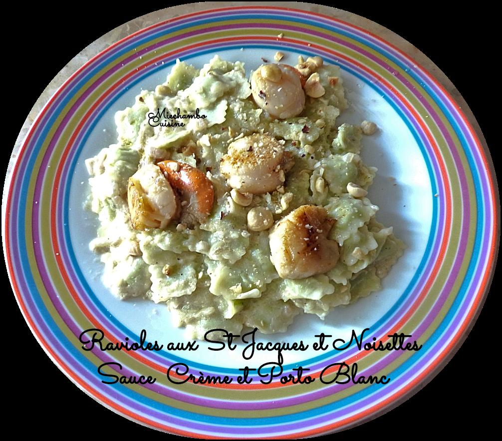 Ravioles aux Saint-Jacques et noisette, sauce crème et porto blanc