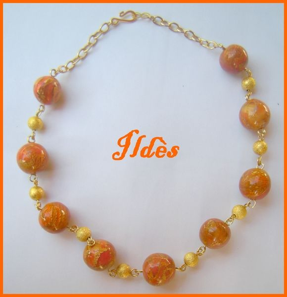 fimo collier ras du cou mokumé orange