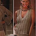 Débardeur col en v pour femme au tricot