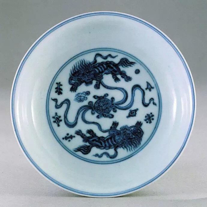 Blue and white 'Buddhist lions' dish, Xuande mark and period, in the National Palace Museum, Taipei