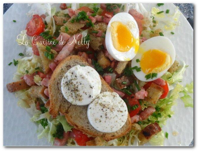 SaladeChèvreChaudLardonsOeufsmollets2