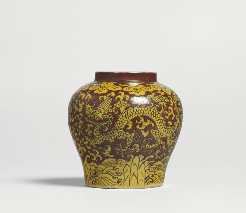 A yellow and red 'Dragon' jar, mark and period of Jiajing (1522-1566)