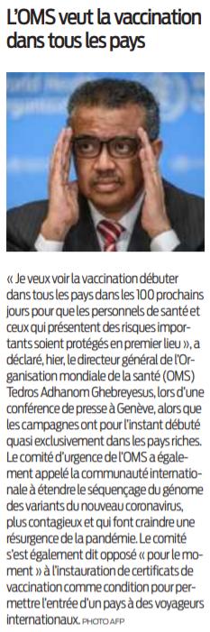 2021 01 16 SO L'OMS veut la vaccination dans tous les pays