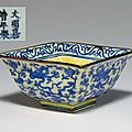 An underglaze blue-decorated yellow-ground square bowl, jiajing six-character mark in underglaze blue and of the period (1522-15