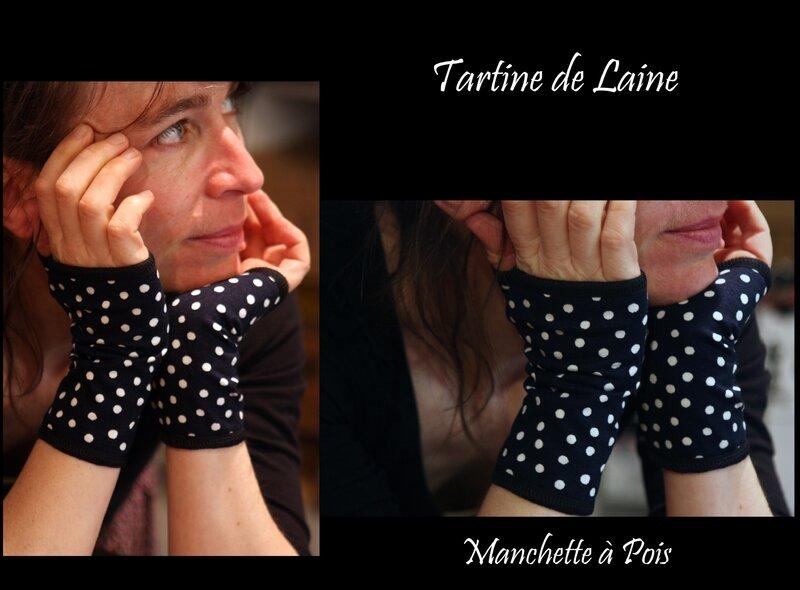 MANCHETTE MARINE A POIS BLANC