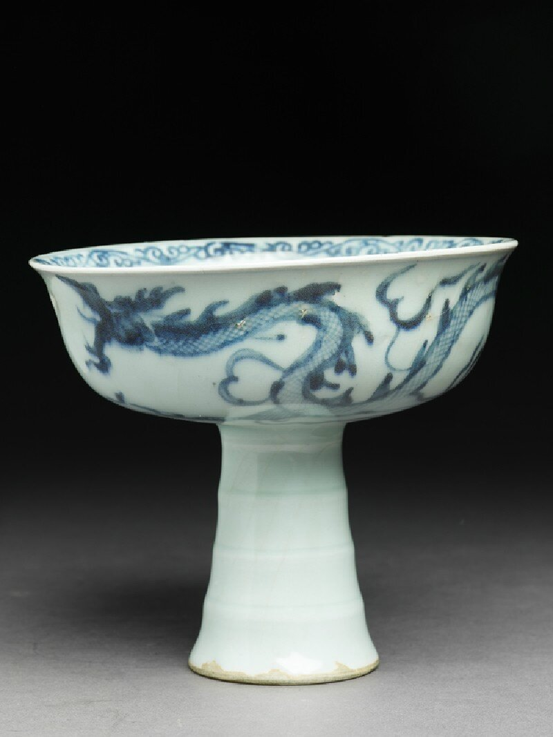 Blue-and-white stem cup with a dragon and flower, Yuan Dynasty (1279 - 1368), 2nd half of the 14th century