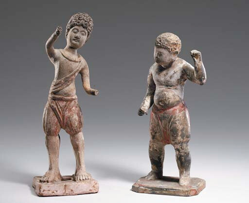 Two Painted Pottery Figures of Foreign Boys, Tang Dynasty (618-906)