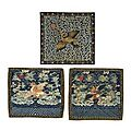 Three pairs of civil rank badges. qing dynasty (1644-1911) and later