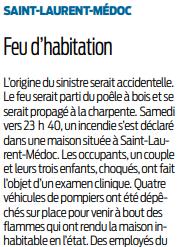 2019 12 09 SO Incendie d'habitation à Saint-Laurent-Médoc