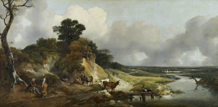 THOMAS GAINSBOROUGH, Landscape with a View of a Distant Village, Late 1740s or early 1750s, Oil On Canvas, 75