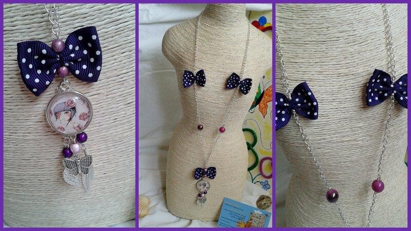 sautoir noeud violet