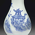 A blue and white pear-shaped vase,transitional period, circa 1645-1655