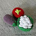 Légumes (tomate, aubergine, chou-fleur) Crochet 2014