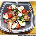 Salade vosgienne et cuisses de cailles fumees