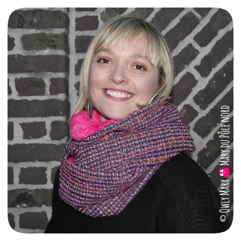 PH2016-12-07-18-02-213-owly-mary-du-pole-nord-fait-main-snood-tour-de-cou-automne-hiver-maryse-orange-lainage-ecru-brillant-rose-fuchsia-polaire-doudou