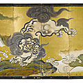 A rare six-fold painted 'frolicking lion' screen, japan, edo period, 19th century