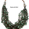 Col324 - collier ethnique multirangs en jade et cuir
