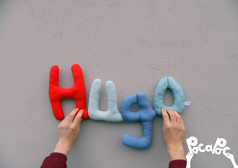 hugo, mot en tissu,mot decoratif,cadeau de naissance,decoration chambre d'enfant,cadeau personnalise,cadeau original,poc a poc blog