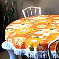 Nappe grandes fleurs oranges 70'