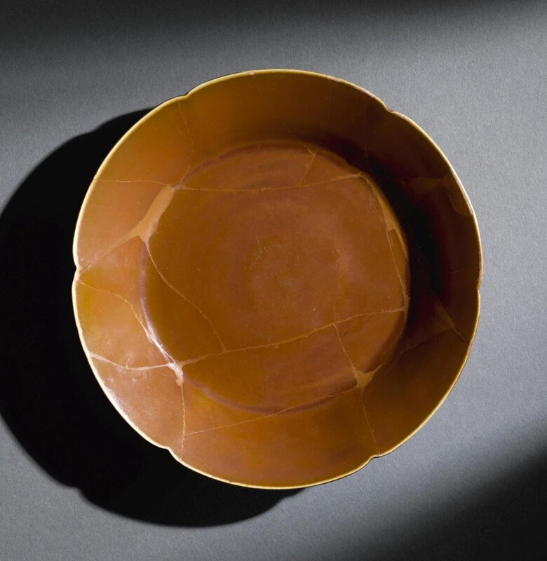 A  rare 'Ding' persimmon-glazed lobed dish, Song dynasty (960-1279)