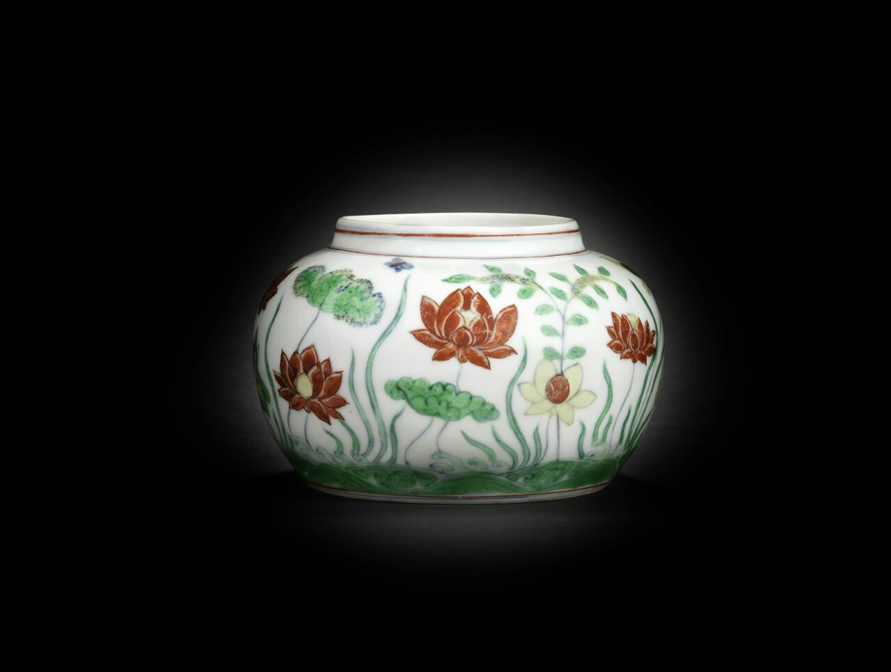An extremely rare and important doucai 'lotus pond' jar, Chenghua six-character mark and of the period. Diameter: 17 cm Provenance: a European private collection. Photo courtesy Bonhams.