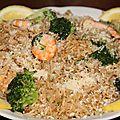 Riz saute aux crevettes et brocolis