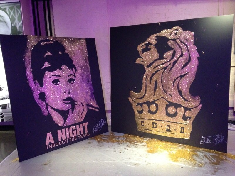 dernier v nements londres last event in london glitter painting live painting. Black Bedroom Furniture Sets. Home Design Ideas
