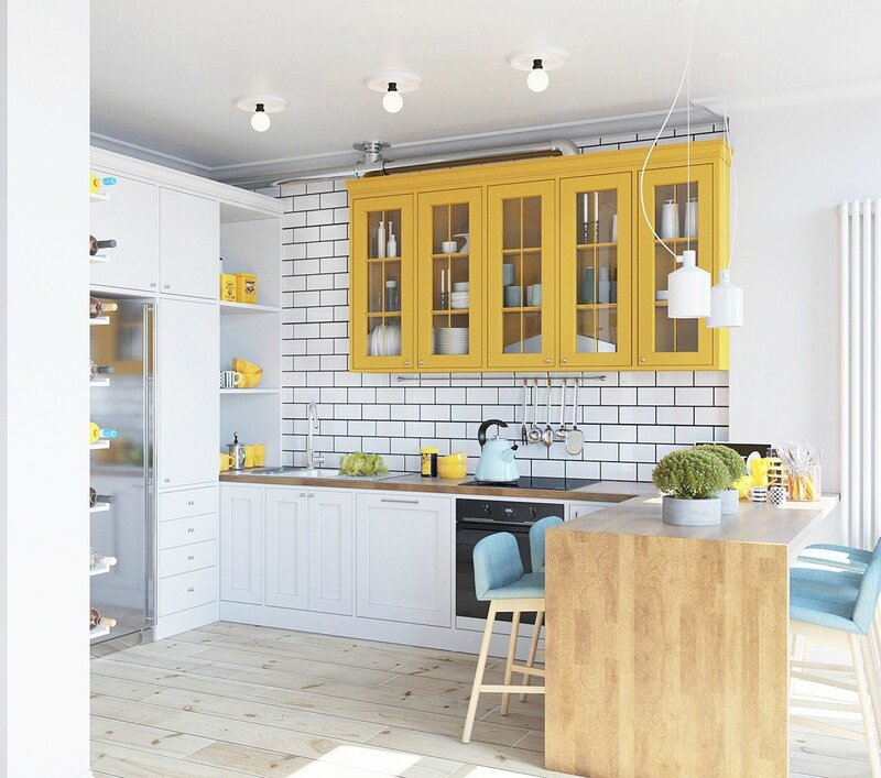 Pastel-kitchen-bright-mustard-cabinetry-light-wooden-floor-and-table-mustard-elements