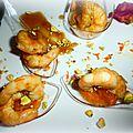 cuillères cocktail de gambas + suprêmes de mandarines, avec des éclats de pistaches