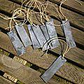 Etiquette rectangulaire en zinc