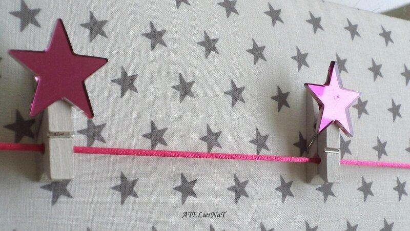 Pêle-mêle blanc étoiles grises pinces étoiles roses3