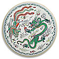 A doucai 'dragon and phoenix' plaque, qing dynasty, 18th century