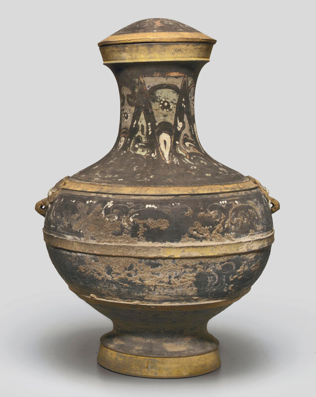 A large painted dark grey pottery jar and cover, hu, Western Han dynasty (206 BC-AD 8)