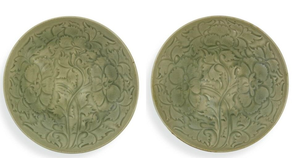 An exquisite and rare pair of carved 'Yaozhou' bowls , Northern Song dynasty