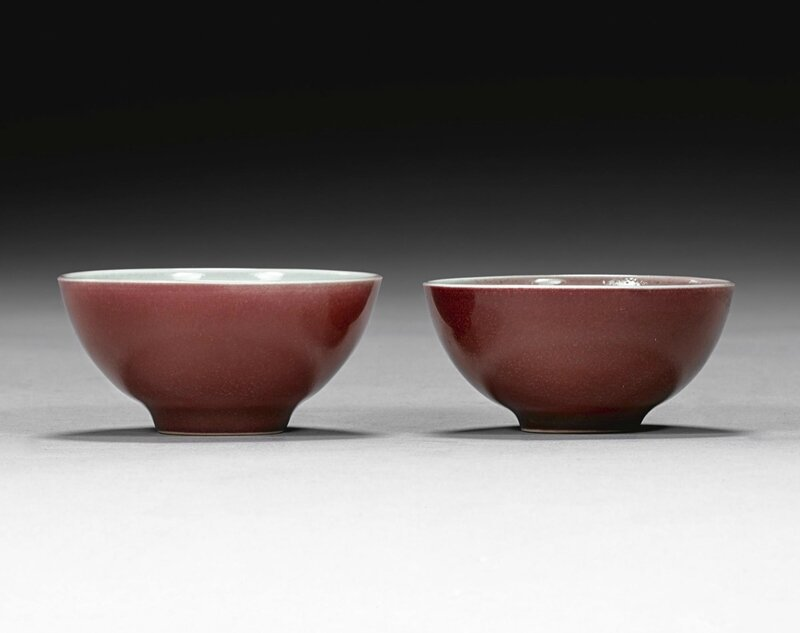 A matched pair of ruby cups, Yongzheng marks and period (1723-1735)
