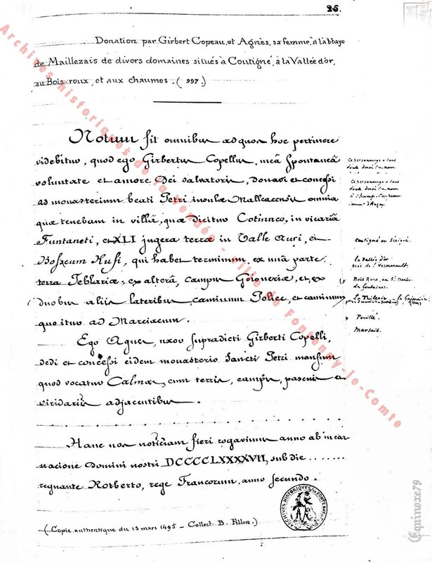 Archives historiques de la Vendée, Charte de Guillaume Fier-à-Bras, duc d'Aquitaine, l'Abbaye de Bourgueil 9 mars 991 (1)