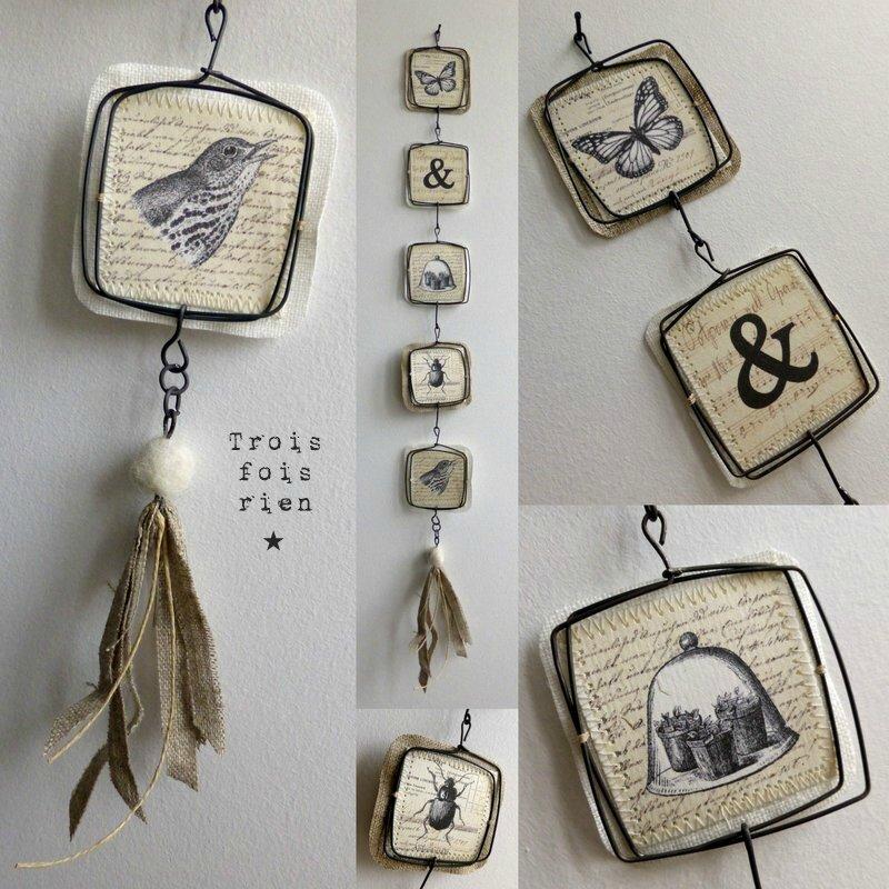 Guirlandes fil de fer papier et tissu (45)