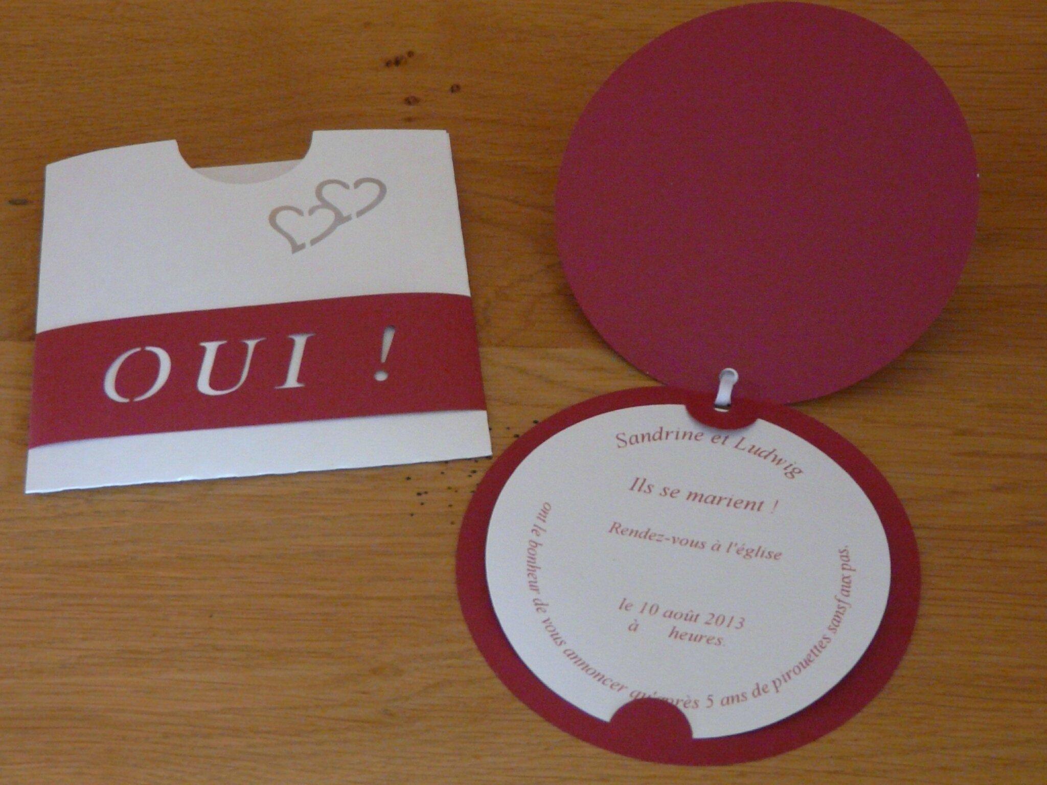 Faire Part De Mariage Blanc Et Bordeaux Coeur Dange