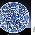 A large blue and white 'lotus' dish, kangxi six-character mark within a double-circle and of the period (1662-1722)