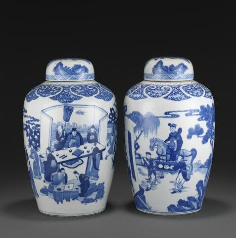 Two blue and white ovoid covered jars, Kangxi. Photo Bonhams.