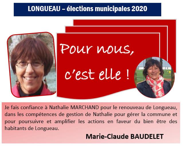 Marie-Claude BAUDELET soutient la candidature de Nathalie MARCHAND.
