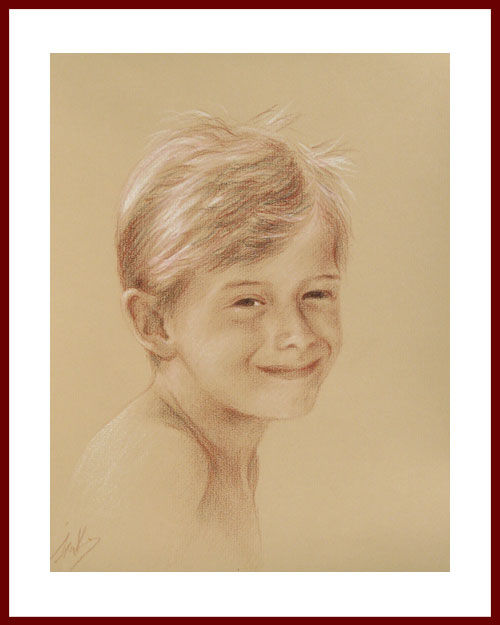 Portrait aux 3 crayons sur papier Ingres Gallery bis, format 24 x 30 cm, 2011