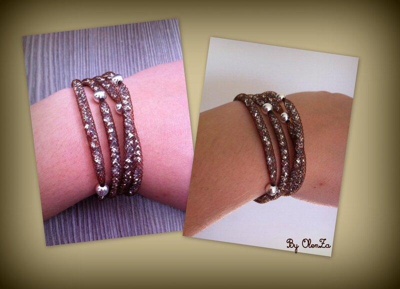 bracelet strass marron