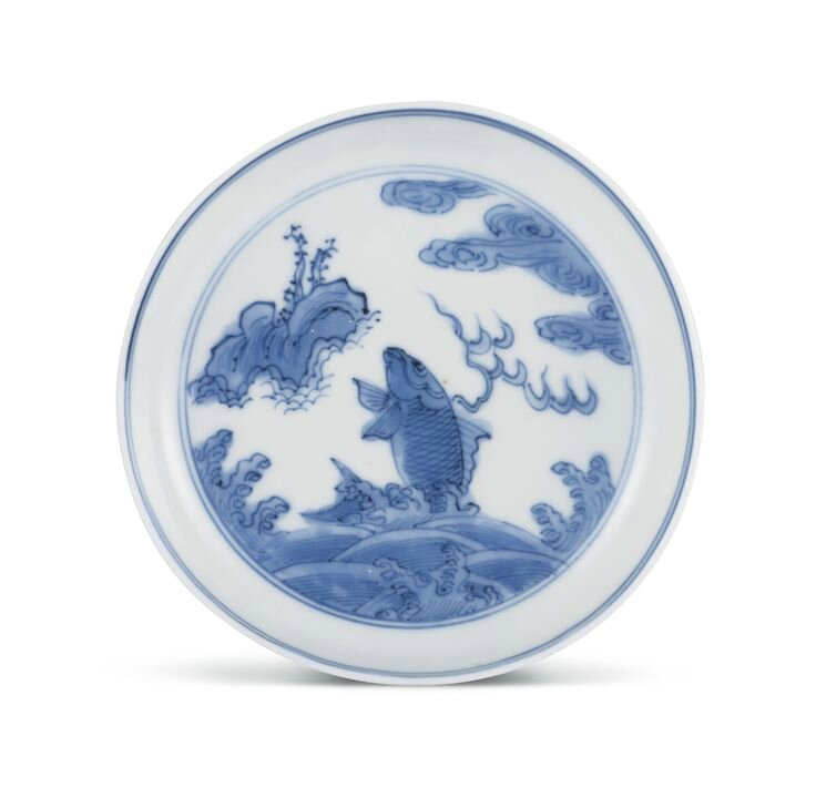 A blue and white 'Leaping carp' saucer, Mark and period of Wanli