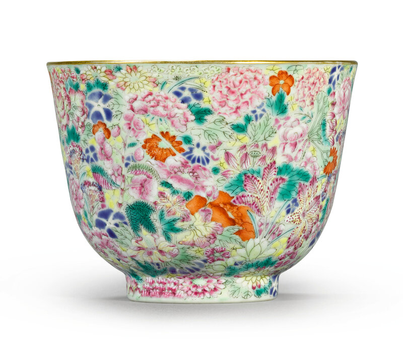 A famille-rose 'Mille-fleurs' cup, Jiaqing seal mark and period (1796-1820)