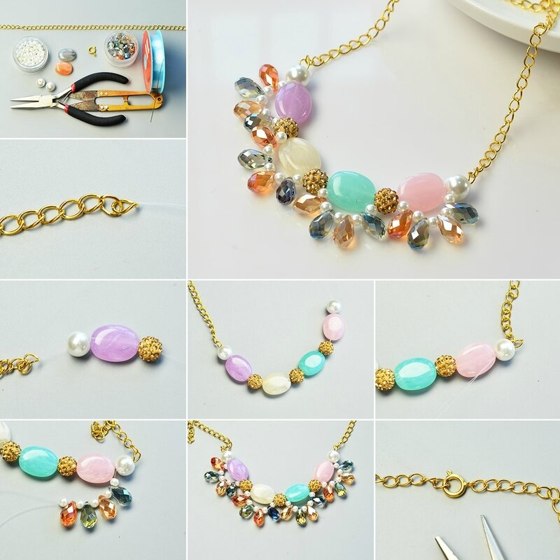 Pandahall-Tutorial-on-How-to-Make-a-Beads-and-Chain-Necklace-with-Gemstone-Pendant